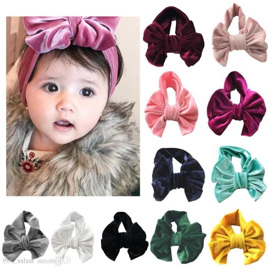 Bambini Big Bow Golden Velvet Hair Band Baby Holiday Hair Ring Accessori Bambini Bowknot Princess Hairdress New Children Boutique