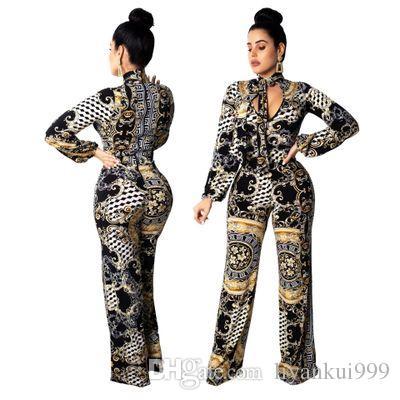 Compre Womens Digital Impreso Bodycon Pantalones De Pierna Ancha Body De Manga Larga Monos De Fiesta Monos Mono Tallas Grandes Ropa De Verano S 2xl A 20 95 Del Liyankui999 Dhgate Com