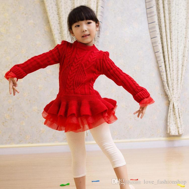 Retail kids designer dress girls knitted long sleeve organza designer sweater pullover princess dress Children boutique clothes 4 colors