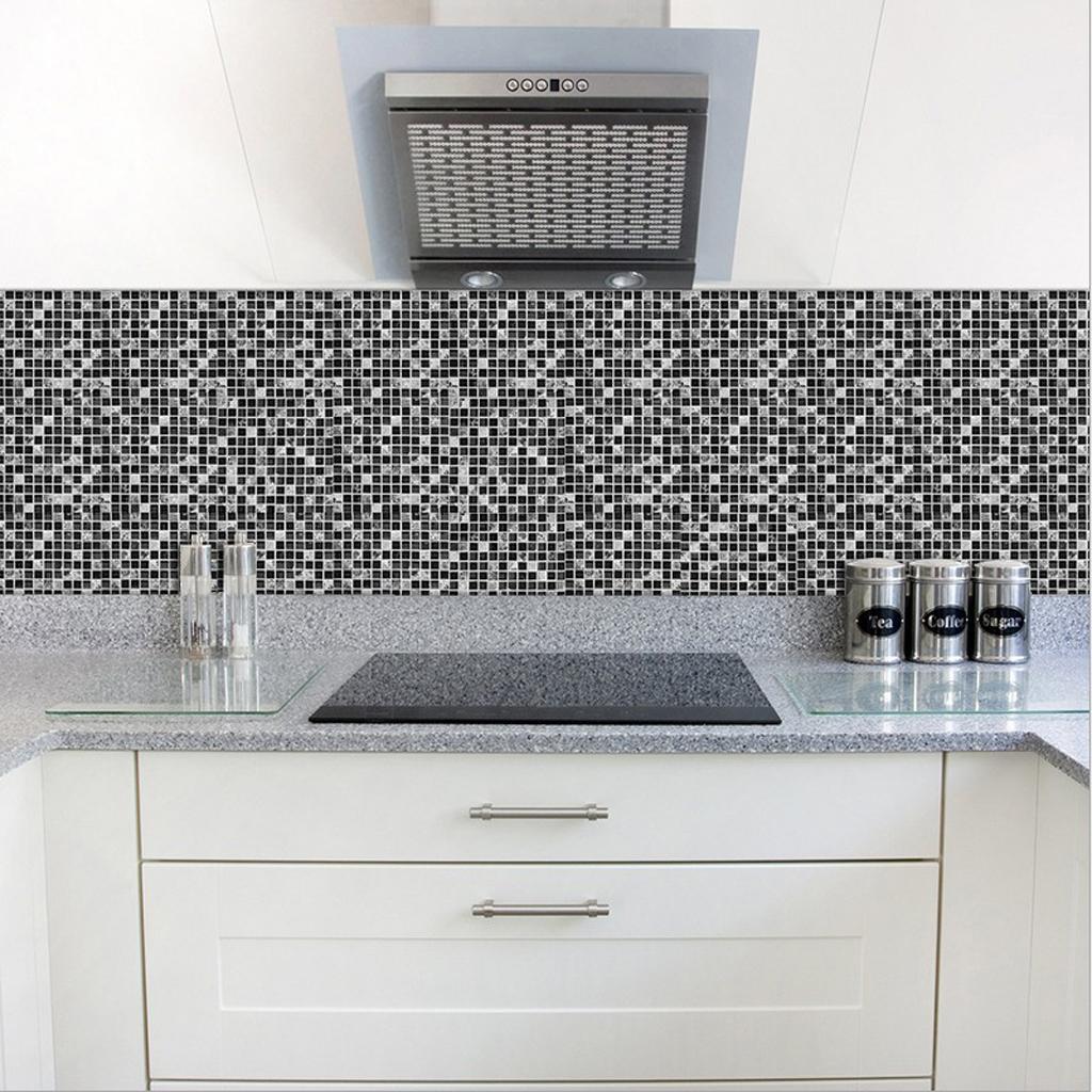 흑백 모자이크 타일 스티커 주방 욕실 바닥 벽 장식
