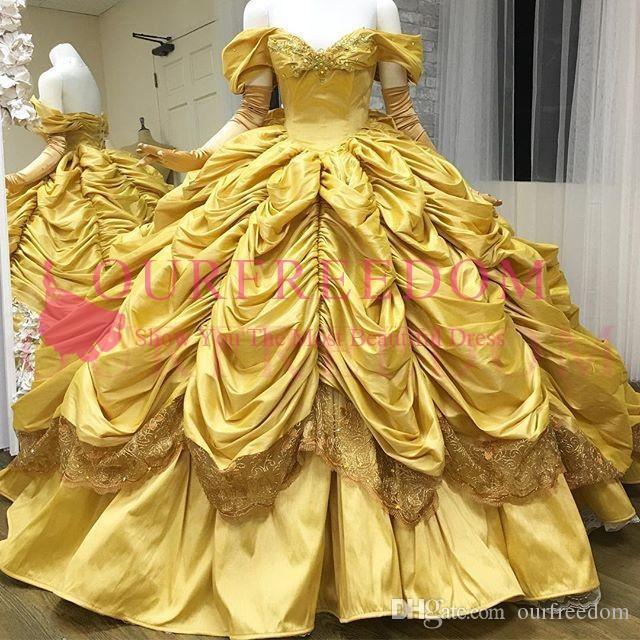 2019 Lindo Quinceanera Amarelo Vestidos Fora Do Ombro Princesa Tafetá Vestido De Baile Babados Saia Doce 16 18 Vestidos De Baile Personalizados