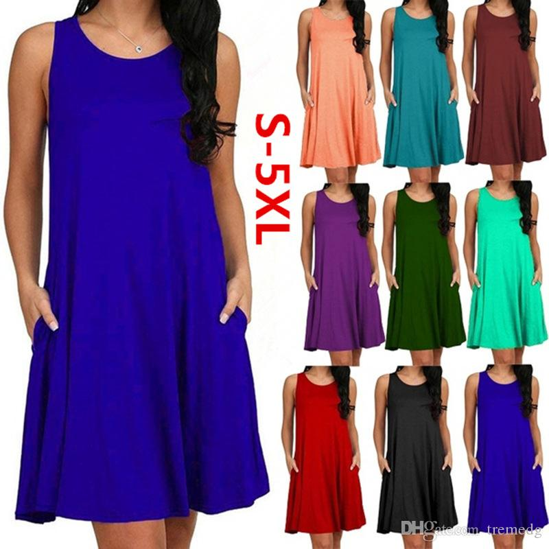 2019 New Summer Women Casual Summer Dress Plus Size O-neck Tank Top Loose Clothing Side Pocket Fashion Sexy Ladies Solid Sleeveless Dresses