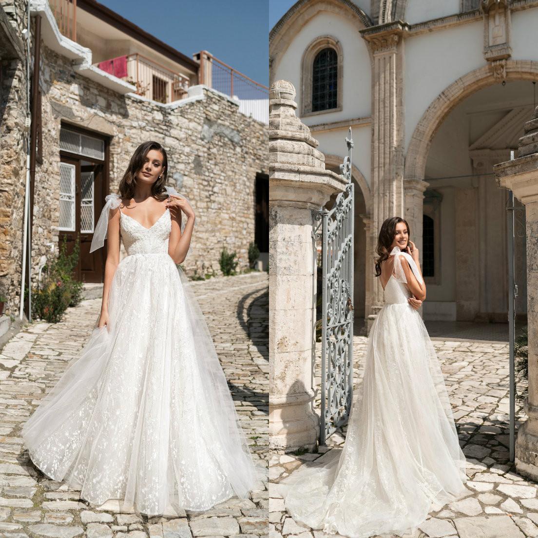 2021 vestidos de boda de las correas de espagueti apliques de encaje Cuentas de vestidos de novia sin espalda de barrido tren vestido de novia una línea Robe de mariée