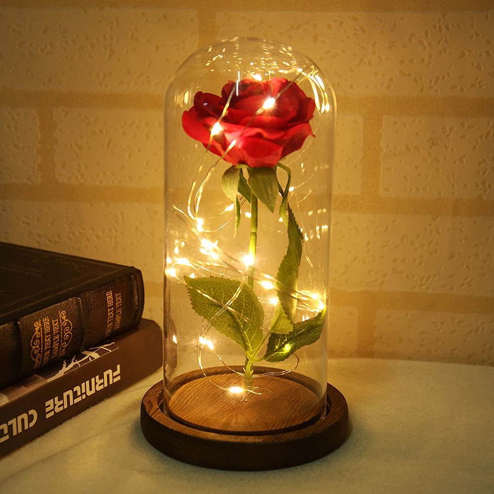 Artificial Rose Flower Glass Cover Beautiful Luminous LED Glass Hotel Festival Ornament Birthday Gift Red Rose Floral Decor