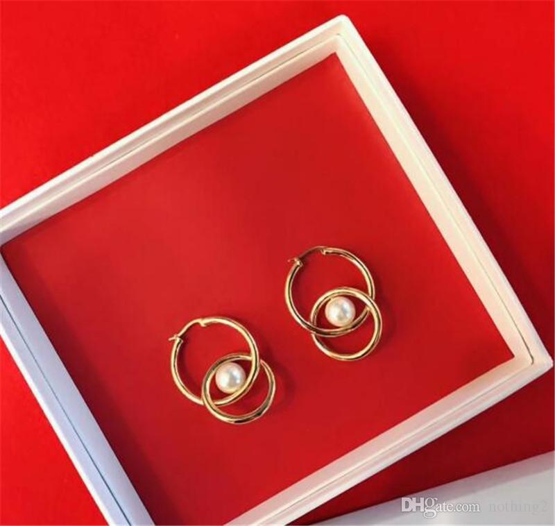 Las mujeres pendientes PRECLOUS joyería plateada oro 18K Colgante de perlas pendientes de la borla de cumpleaños regalo de Navidad Año Nuevo