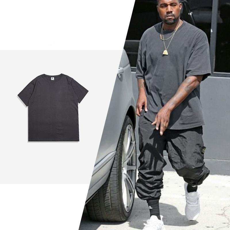 6 Renk kanye west Yaz Erkekler Düz renk Casual Pamuk Kısa Kollu tişört Streetwear Büyük Boy Hip Hop Swag Erkek tişört