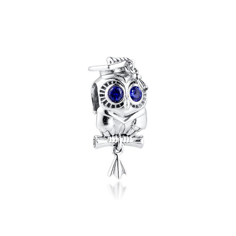 Wise Owl laurea fascino della mamma argento Kralen voor Jewelry Jewelry maken fascini di misure Snake Chian Bracciali Sterling Silver