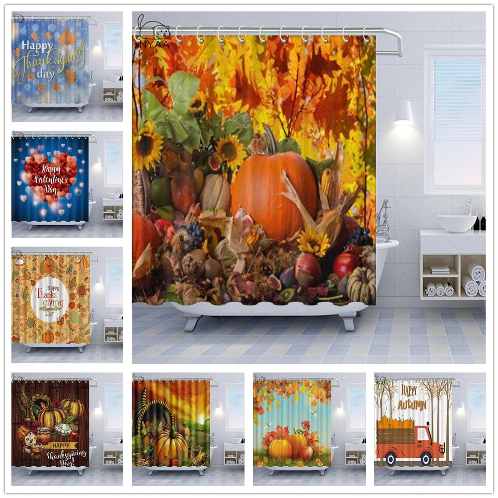 Happy Thanksgiving Shower Curtains Love Design With Elegant Text Bathroom Shower Curtain Decorations Autumn Harvest Pumpkin Bathroom Curtain