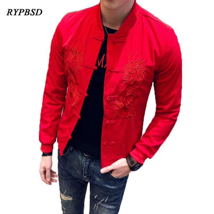 Nakış Erkekler Ceket Moda Rahat Ince Tasarım Streetwear Beyzbol Ceket Uzun Kollu Katı Renk Hip Hop Erkekler Ceketler Siyah RedMX190828