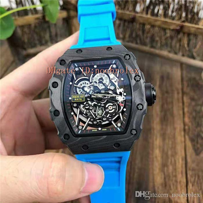 New RM35-02 orologio svizzero meccanico automatico traforate Dial indossare Super luce cinturino in fibra di carbonio Tonneau Caso zaffiro Crystal Blue Rubber