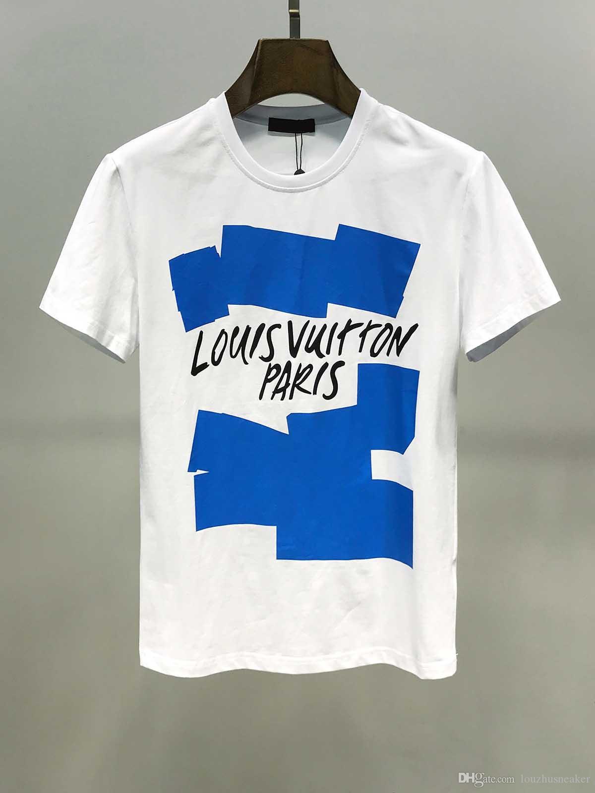 T-shirt Sportiva da uomo di moda LOU VUI topo con stampa lettere stile europeo e Maniche corte Etichetta