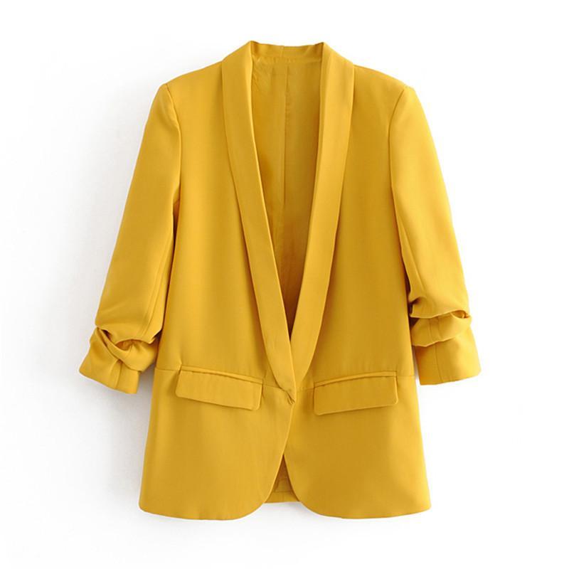 여성용 정장 블레이저 세련된 캔디 컬러 오피스 착용 기본 코트 Pleated 슬리브 포켓 여성 겉옷 세련된 탑스 솔리드 자켓