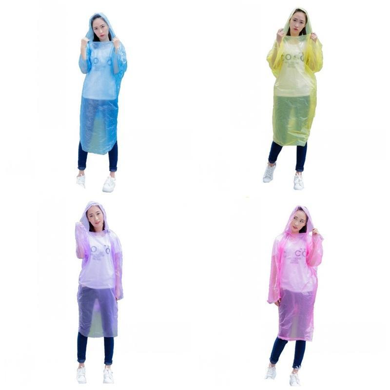 Disposable Raincoats Unisex Color Randomly Plastic Hood Poncho Rain Wear Outdoors Hiking Rainwear Water Proof Plenty Stock 0 6fsa E19
