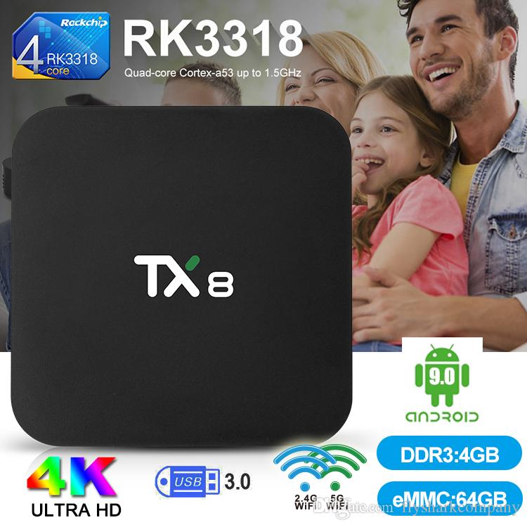 TX8 Andriod 9.0 TV Box 4GB 32/64GB RK3318 Smart TV Box 2.4G/5G Wifi Bluetooth 4.0 Smart TV Box