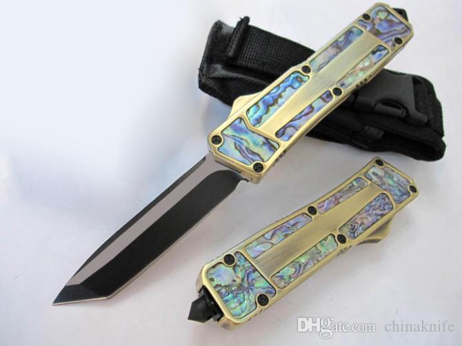 16pcs / lot DHL oro maniglia AUTO tattico coltello 440C 58HRC Black Blade 5 Modelli EDC regalo coltello da tasca coltelli con borsa in nylon