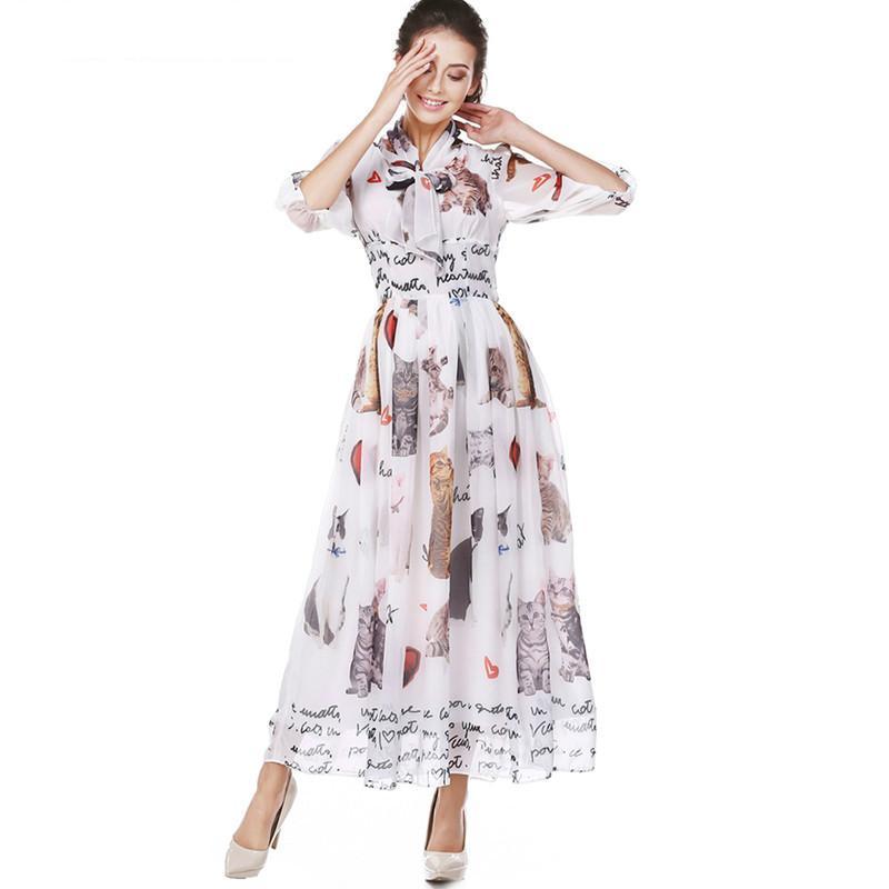 Новый 2019 Весенний Бренд Женской Моды Cat Print Макси Платье Воротник Галстук-Бабочку Повседневная Плиссированное Длинное Платье Плюс Размер Женщины Шифон Платье