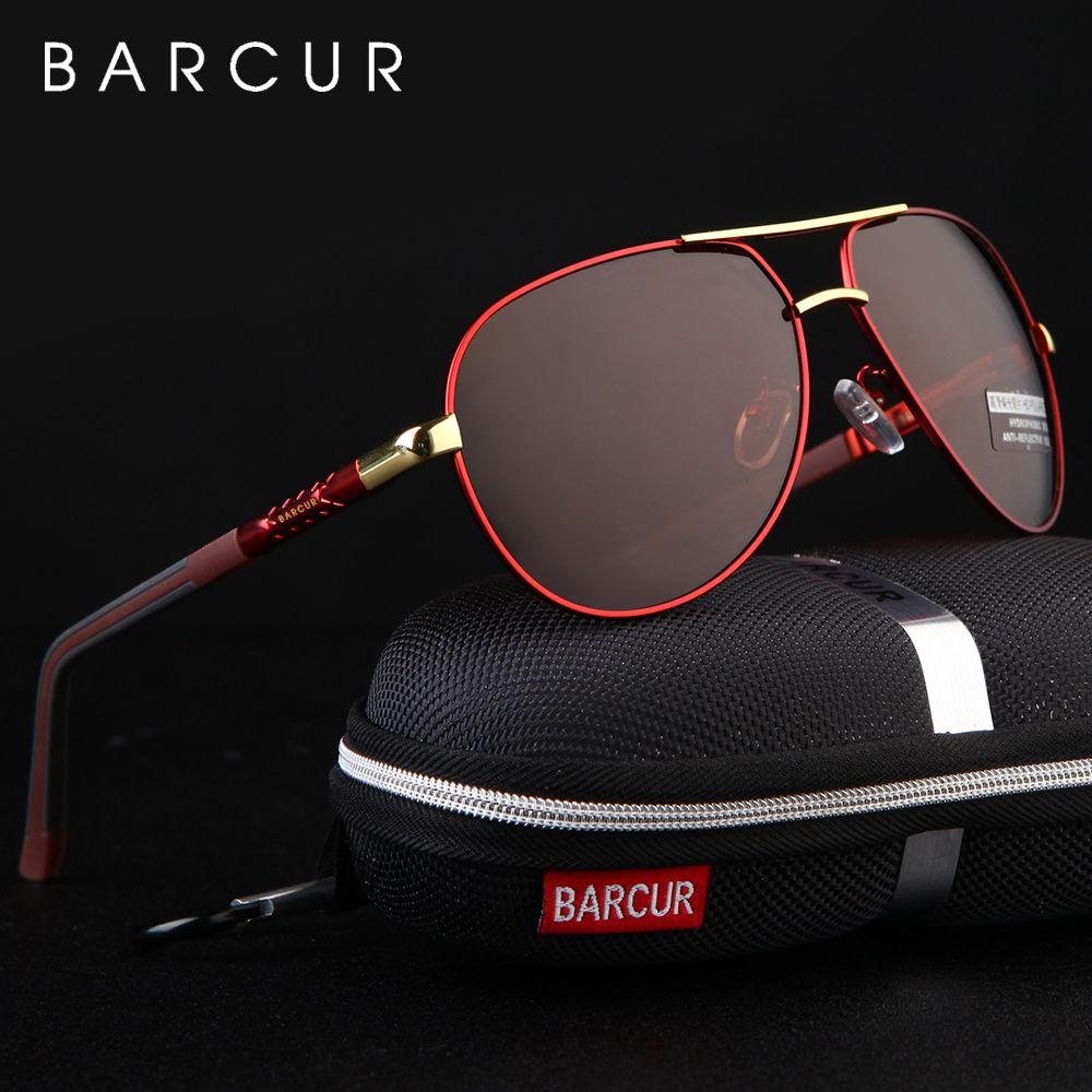 BARCUR de aluminio de los hombres de las gafas de sol polarizadas de los hombres capa de espejo de los vidrios oculos Hombre Gafas accesorios para hombres