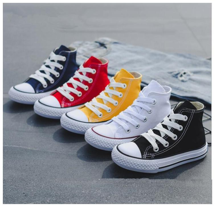 5 colors Kids baby canvas Sneakers shoes Breathable Leisure designer shoes children boys girls High top Sports Shoes