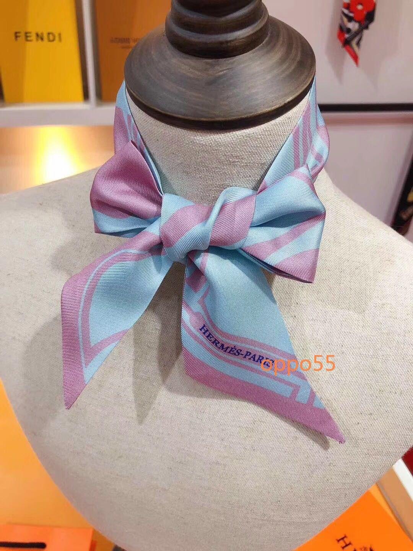 2020 Frauen der Art und Weise Seide Gürtel Schal schöne Mischung und Match Schal Design Mädchen Kopftuch Stirnband Tasche Griff Wrap kleinen Schal W02