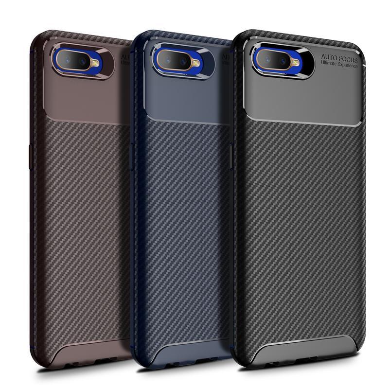 TPU Téléphone couverture en fibre de carbone anti-choc Téléphone Case givré Concise téléphone portable Housse de protection arrière pour OPPO K1