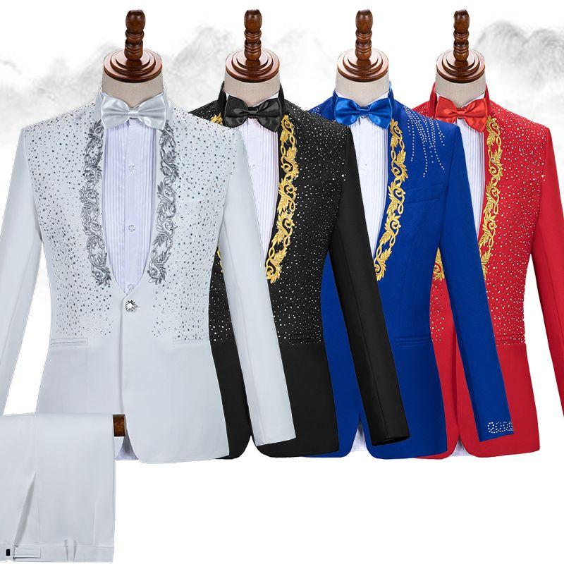 Cristaux scintillants Blazers Broderie Costumes Des Hommes Blazer Costume Chorale Robe Chanteur Hôte Concert Scène Tenue Vêtements Discothèque Costume Vêtements