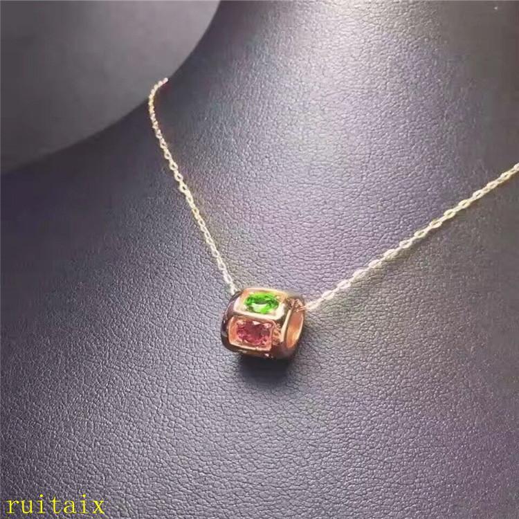 KJJEAXCMY boutique jóias turmalina pingente + colar s925 naturais prata incrustada com colar de pedras preciosas coloridas.