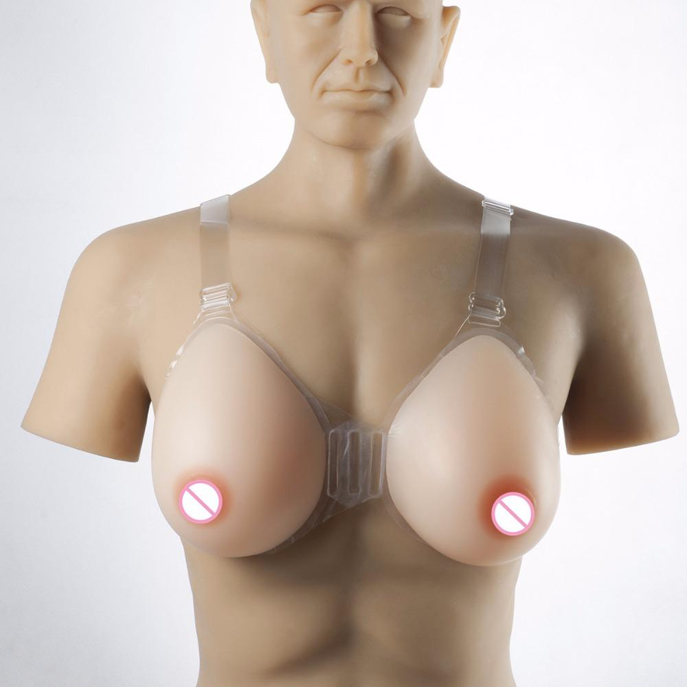 2400g/pair Crossdresser Shemale Breast Forms Teardrop Fake Boobs Tits Silicone Breast With Bra Needn't Adhesives