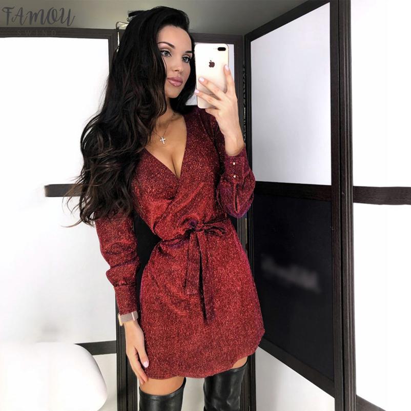 2020 Les femmes de l'or rouge Fashion Sparkle Silver Robe sexy col V à manches longues Ceinture Tunique Robes Printemps Automne Nightclub Vestidos