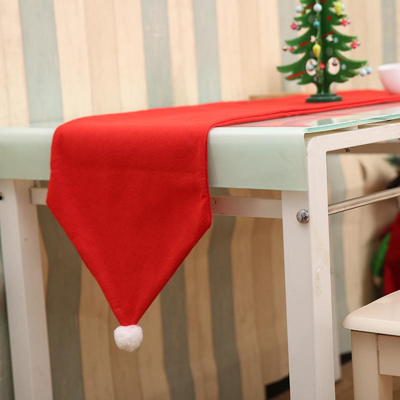 1pc Christmas Hat Type Solid Red Table Runner Christmas Decoration For Home Table Accessories Ornaments Runner