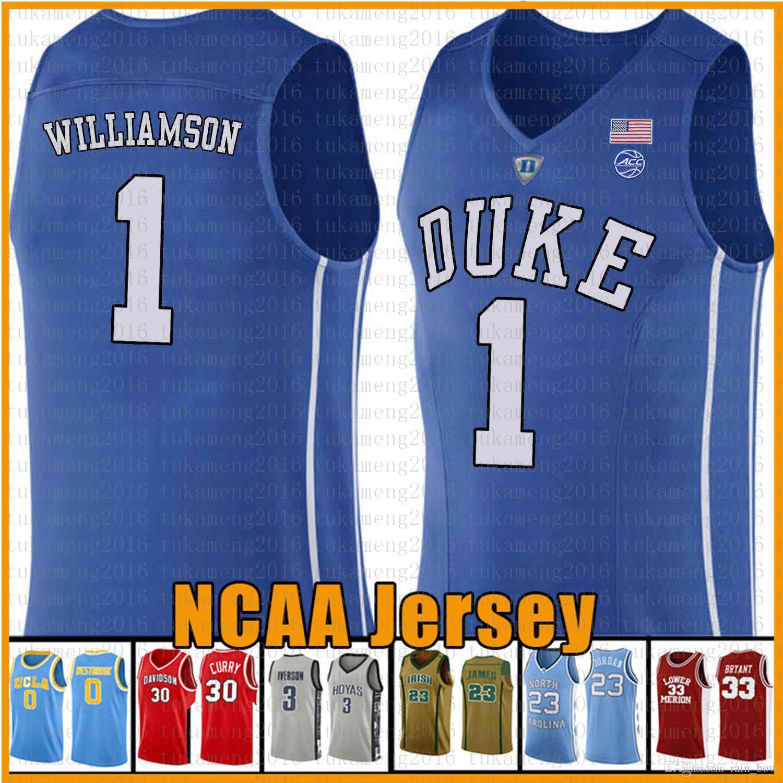 Mens Zion 1 Williamson Duke Blue Devils Basket universitario americano Jersey Cam 2 Reddish RJ 5 Barrett Blu Bianco Nero Maglie