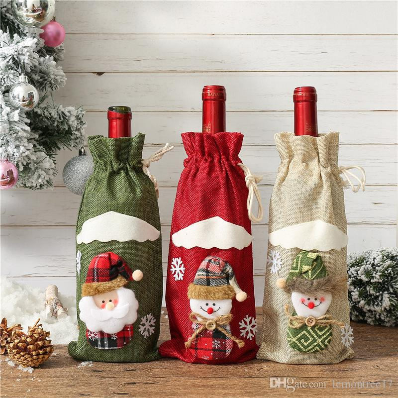New Santa Claus Gift Bags Christmas Decorations Red Wine Bottle Cover Bags Xmas Santa Champagne wine Bag Xmas Gift Bag 31*14CM