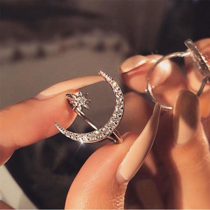 Modyle 2019 nuovo di modo anello della stella della luna abbagliante di Open anelli di barretta per i monili delle ragazze delle donne anello di cristallo aggancio di cerimonia nuziale