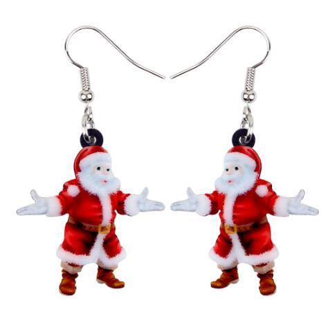 Kadınlar Kızlar Gençler Hediye Charms için Akrilik Noel Mutlu Noel Baba Baba Küpe Bırak Dangle Dekorasyon Takı