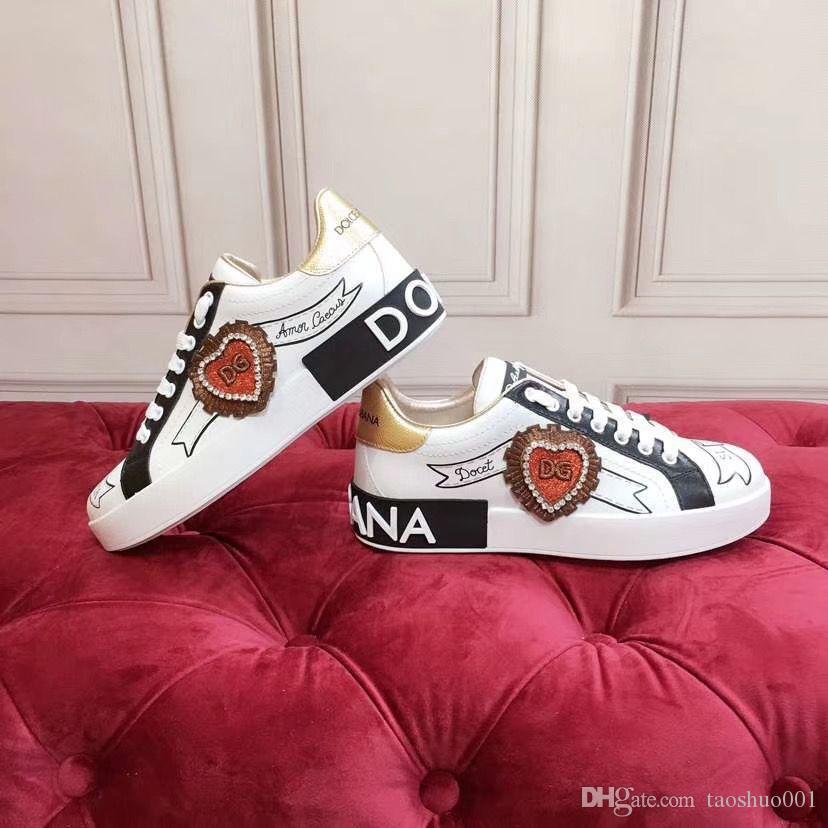 Dolce & Gabbana D&G 2020o lüks ısmarlama erkek ve kadın grafiti el boyaması gündelik spor ayakkabıları, şık ve kişilik parti ayakkabı yönlü, boyut: yy6