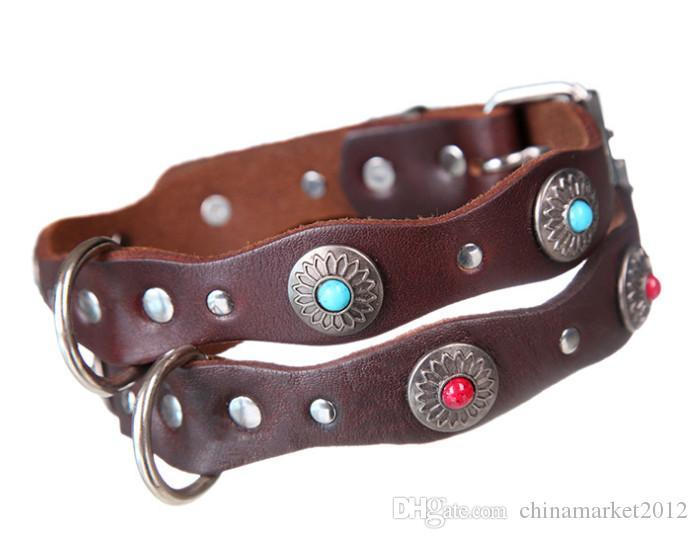 الكلب طوق البقر جودة عالية الاكسسوارات الكلب مجوهرات جلد طبيعي ل صغير كبير الكلاب جرو الياقات حيوانات منزلية