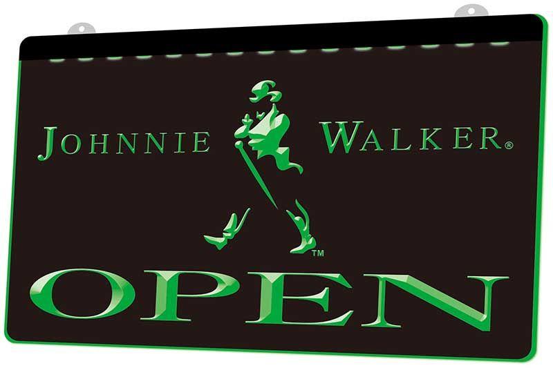LS0440 0 Johnnie Walker Abrir Whiskey Bar RGB Multiple Sign Cor Remote Control 3D gravura LED Neon Light Shop Bar Pub Clube