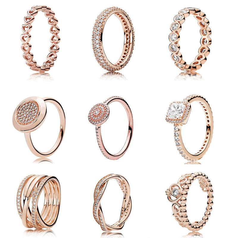 13 Styles Solid 925 Silver Rose Gold Timeless Elegance Love Eternal Braided Rings For Women Wedding Gift Fine Europe Jewelry