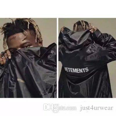 Erkek Tasarımcı Siyah Sonbahar Kış Uzun ceketler WINDBREAKER Harf Baskı Moda Kalça Gevşek Erkek Sokak Jacket Coats Casual Tops kaydırdı Hop