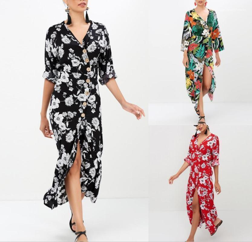 Yaz Kadın Çiçek Bohemian Elbiseler Moda Plajı Sahil Günlük Elbise Tatil Giyim