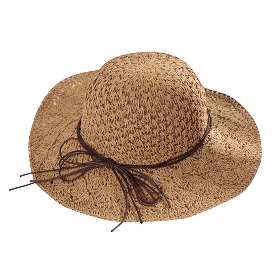 2019 summer sexy women's bow grass beach hat striped hood foldable rolled pretty beach hat seaside sports girl 40J5