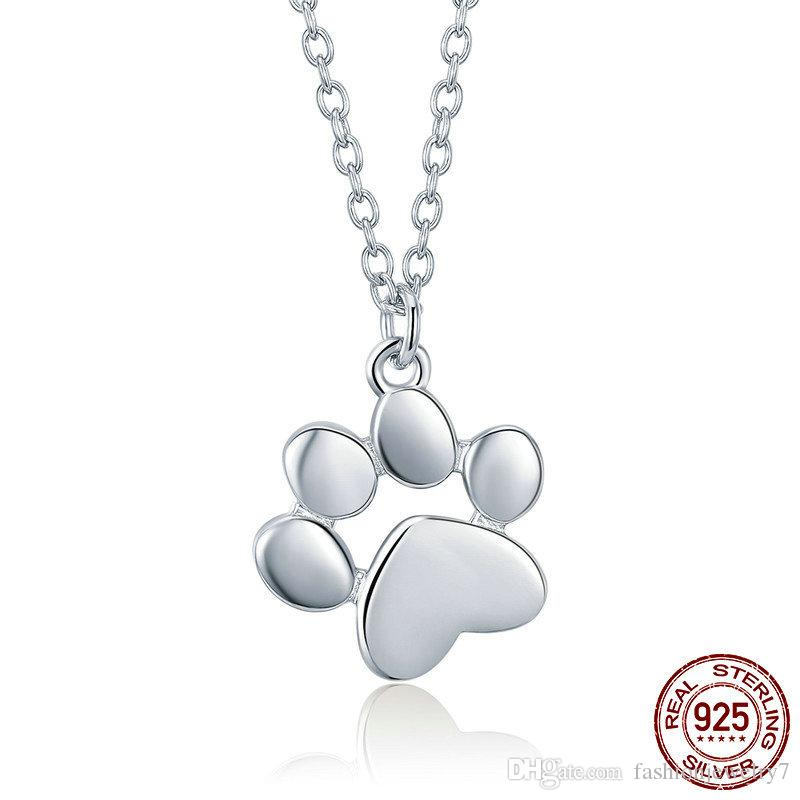 Genuine 925 Sterling Silver Necklace Cute Animal Footprint Dog Cat Footprints Paw Necklaces Pendants Women Jewelry Fashion Modeling