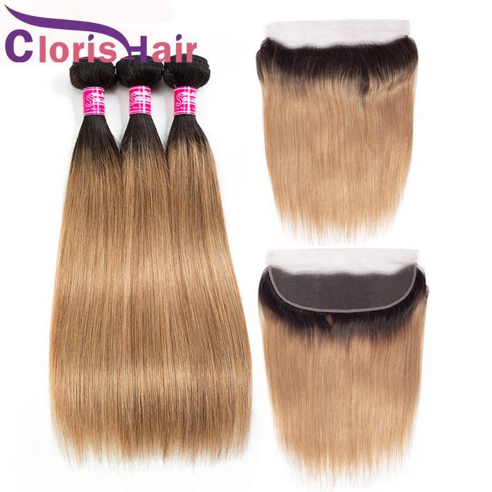 Color Honey Blonde Ombre Cabello humano 3 paquetes con 13x4 frontal del cordón de seda recta T1B / 27 4pcs brasileña del pelo de la Virgen teje con cierre