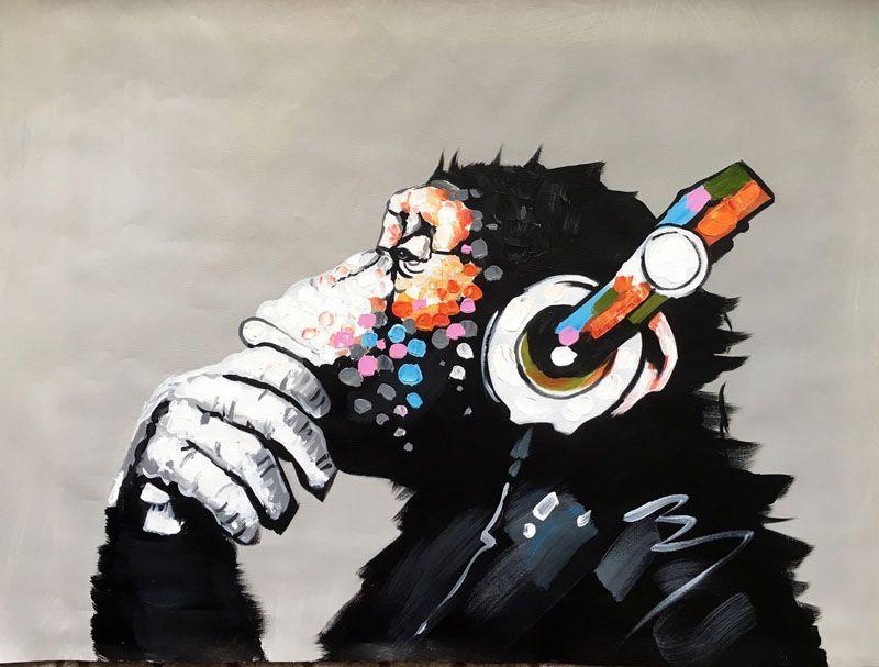 Dekorierte abstrakte Bild Kunst Malerei auf Leinwand handgemalt Schimpanse Ölgemälde KingKong für Wanddekoration [ungerahmt]