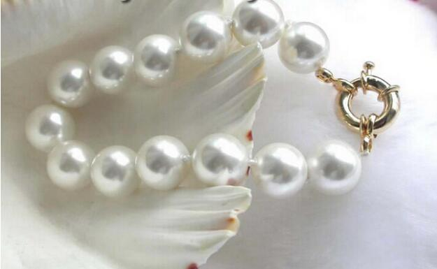FREE SHIPPIN + ++ Stunning!14mm White Round Sea Shell Pearl Bracelet!