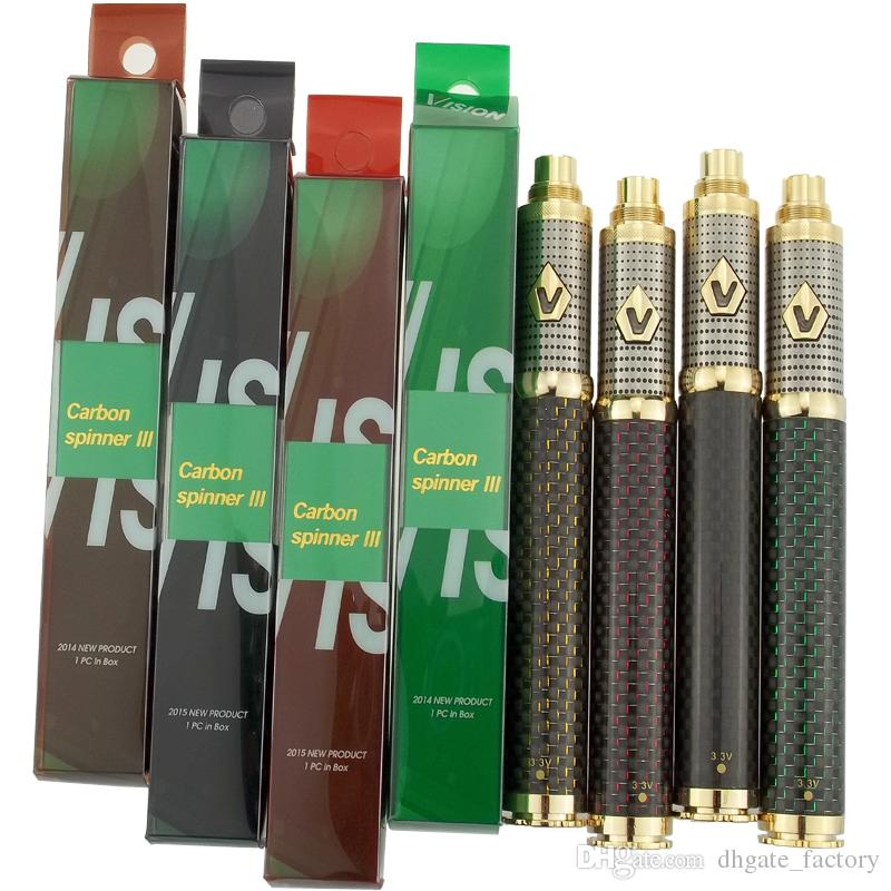 1650mAh Vision Spinner 3 Battery E Cigarette Vape Pen 510 Thread Voltage Adjustable Batteries Fit 510 Atomizers 4 Colors Available