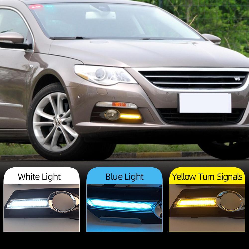 2Pcs Автомобильный свет для VW PASSAT CC 2009 2010 2011 2012 2013 LED DRL дневного света с рассеивателем тумана