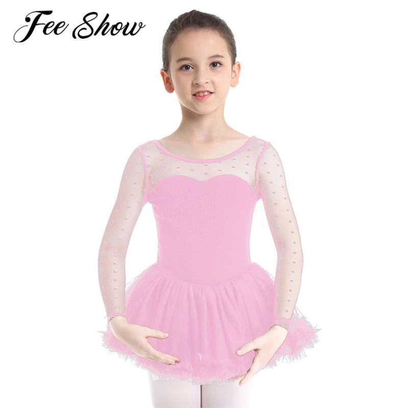 새로운 패션 여자면 땡땡이 무늬 긴 소매 발레 댄스웨어 키즈 소녀 메쉬 발레 댄스 체조 레오타드 드레스 SZ 3-10