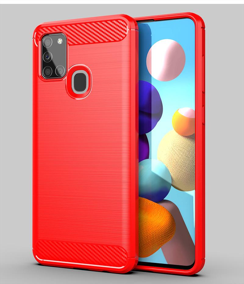 Carbon Fiber Texture Slim Armor Brushed TPU CASE COVER FOR Samsung Galaxy A01 A11 A21 A31 A41 A51 5G A71 5G A21S M21 M31 CRexpress