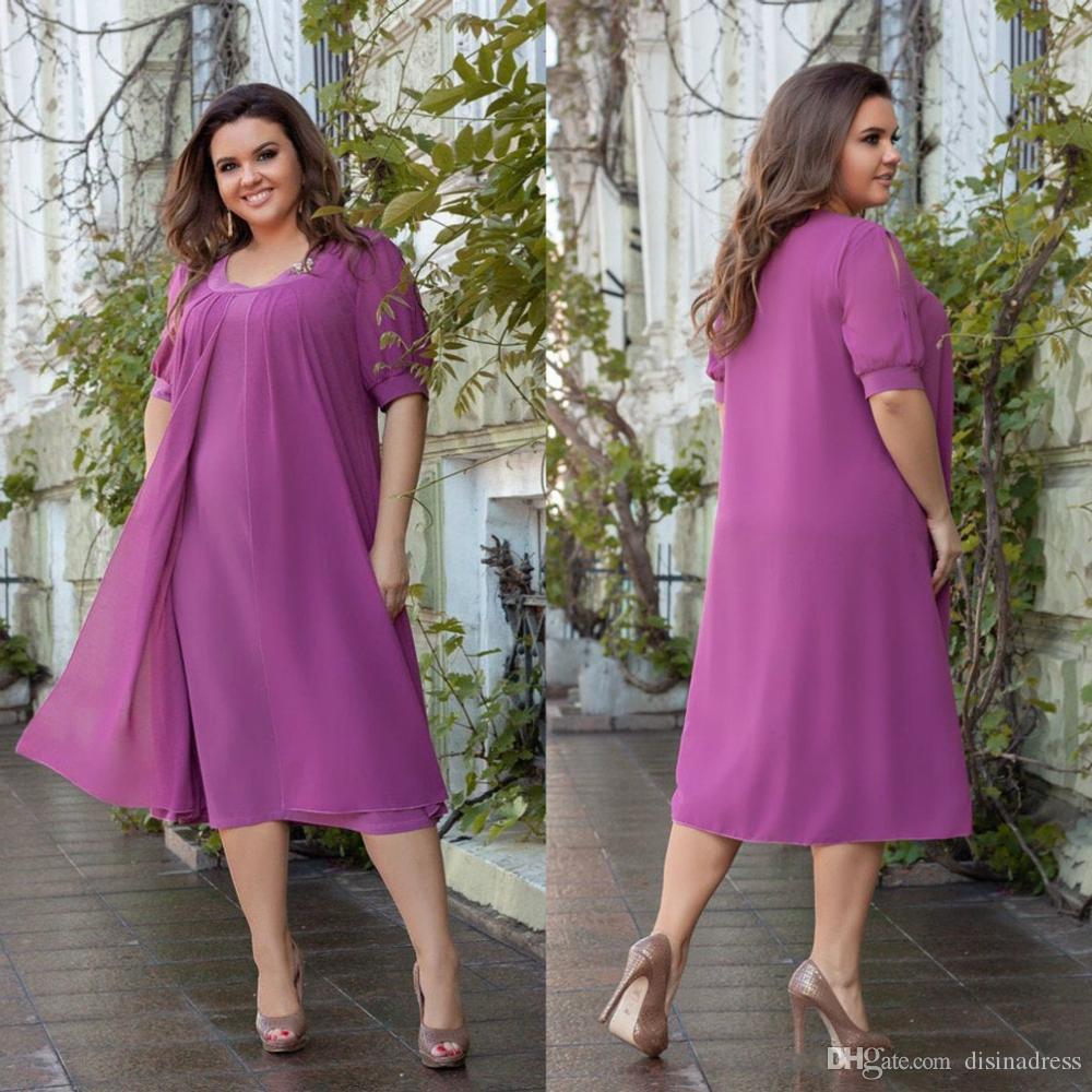 2020 plus Größen-Sommer Chiffon Mutter der Braut Kleider Jewel Capped kurze Ärmel Abendkleider Tee-Länge Short Wedding Guest Kleid