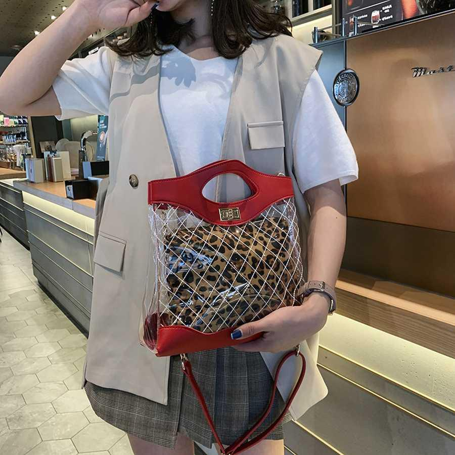 Jalea transparente de diamante del enrejado compuesto leopardo totalizadores de las mujeres del hombro bolsos de las señoras de la PU de mano de cuero Bolsas Cadenas Messenger Bag